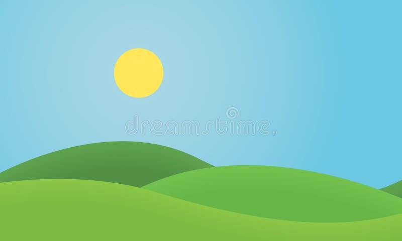 Paesaggio piano dell'erba di progettazione con le colline ed il sole d'ardore sotto blu illustrazione vettoriale