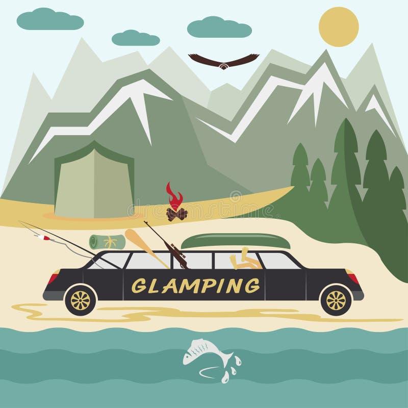 paesaggio piano di campeggio di progettazione con le limousine illustrazione di stock