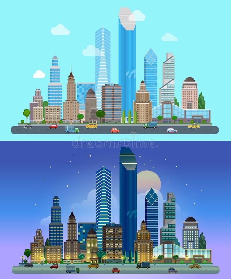 Paesaggio piano urbano della città di vettore - grattacieli delle costruzioni illustrazione di stock