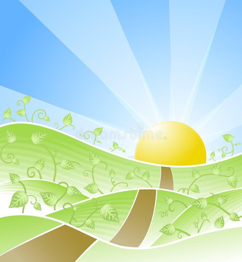 Paesaggio pieno di sole floreale idillico illustrazione di stock