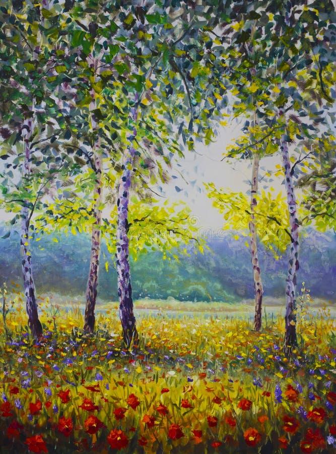 Paesaggio pieno di sole luminoso Betulla verde Un campo di bei fiori viola rossi Contro fondo della pittura a olio della foresta  fotografie stock libere da diritti