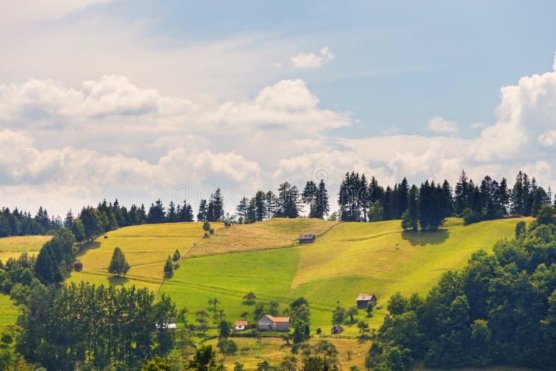 Paesaggio piovoso della montagna, Romania immagine stock libera da diritti