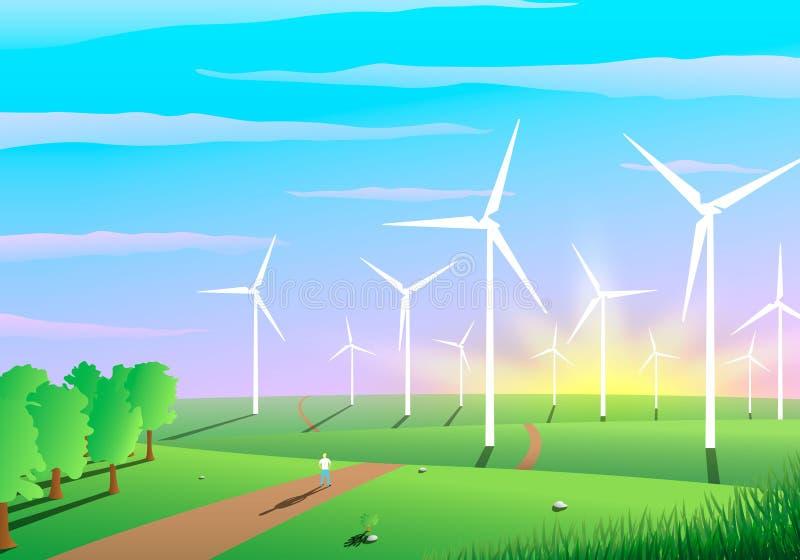 Paesaggio pittoresco di un parco eolico, concetto di ecologia illustrazione di stock