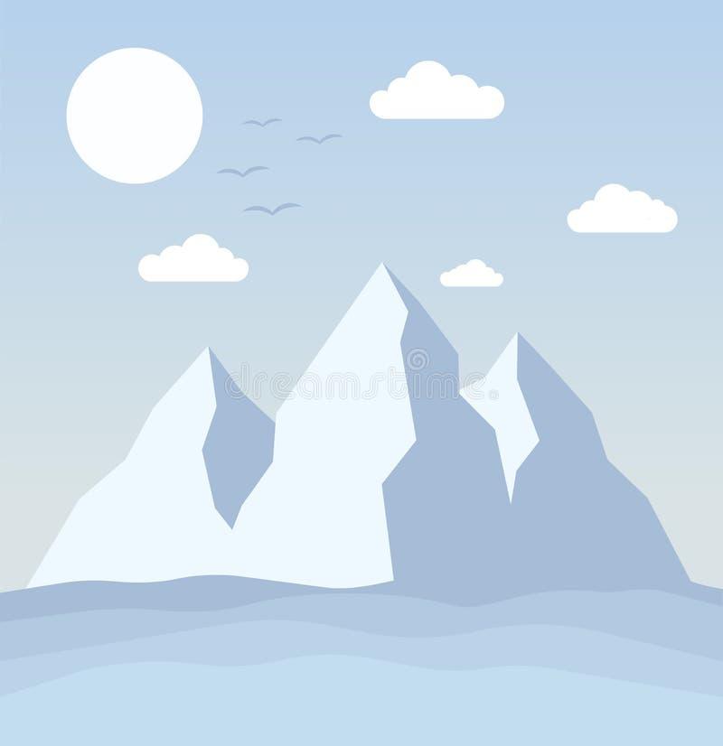 Paesaggio polare con l'iceberg e l'oceano, illustrazione di vettore illustrazione di stock