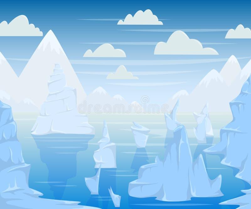 Paesaggio polare con le montagne e gli iceberg illustrazione vettoriale
