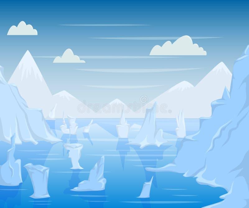 Paesaggio polare con le montagne e gli iceberg royalty illustrazione gratis