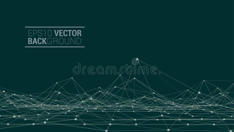 Paesaggio poligonale di Wireframe illustrazione vettoriale