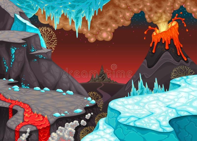 Paesaggio preistorico con fuoco e ghiaccio royalty illustrazione gratis