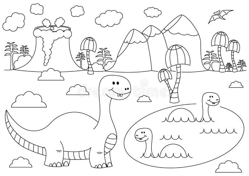 Paesaggio preistorico con i dinosauri divertenti del fumetto - brontosauro nell'acqua illustrazione di stock
