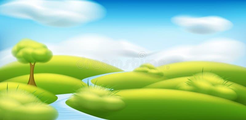 Paesaggio primavera-estate di vettore Illustrazione con gli alberi, nuvole, illustrazione di stock