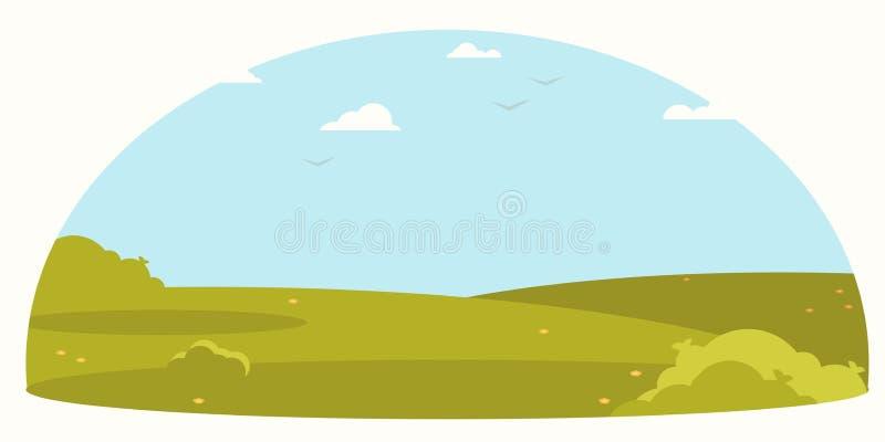 Paesaggio, progettazione piana della campagna Fondo di vettore illustrazione di stock