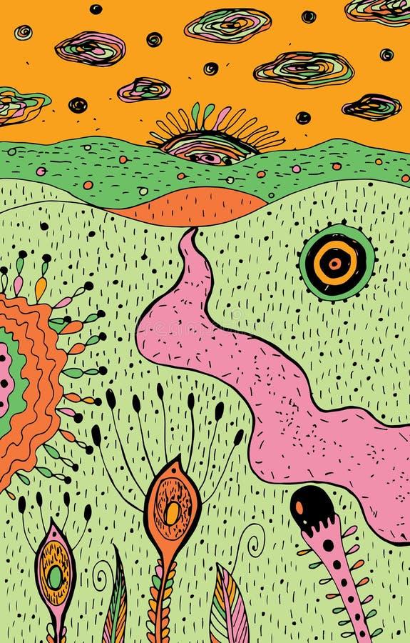 Paesaggio psichedelico del fumetto - arte variopinta di hippy Materiale illustrativo grafico fantastico di schizzo Illustrazione  illustrazione vettoriale