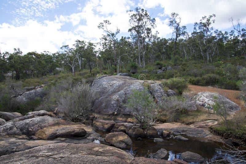 Paesaggio roccioso di John Forrest National Park vicino alla cascata fotografia stock libera da diritti