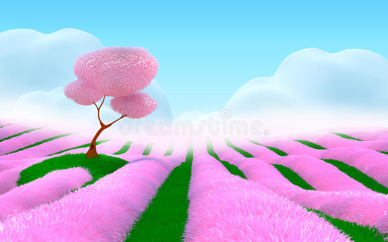 Paesaggio rosa di fantasia royalty illustrazione gratis
