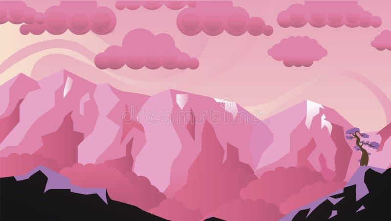 Paesaggio rosa stupefacente con le nuvole fotografia stock
