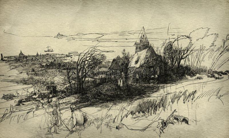 Paesaggio rurale illustrazione di stock