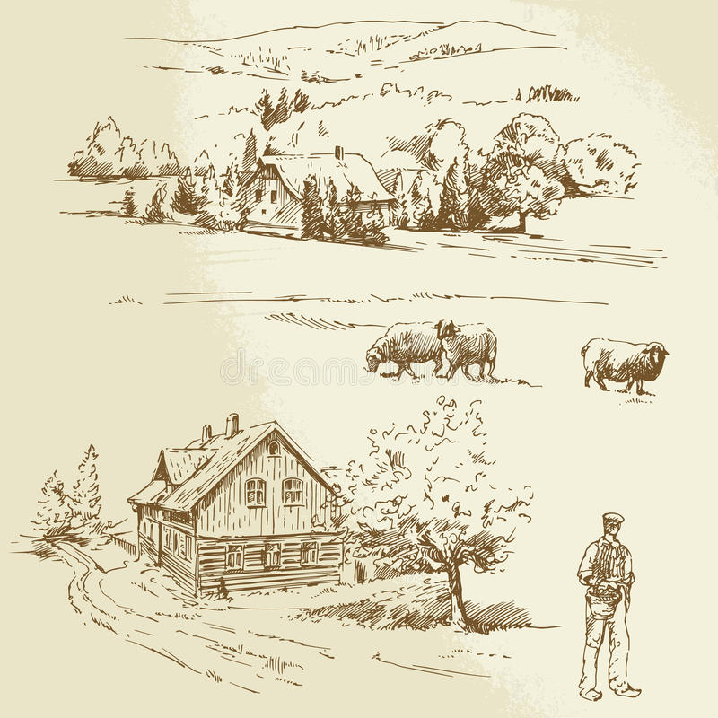 Paesaggio rurale, agricoltura, azienda agricola illustrazione di stock