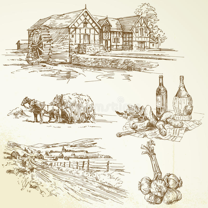 Paesaggio rurale, agricoltura, vecchio watermill illustrazione di stock