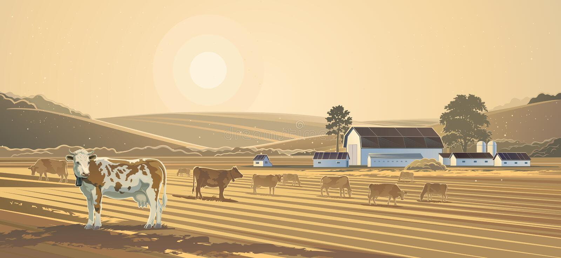 Paesaggio rurale Azienda agricola royalty illustrazione gratis