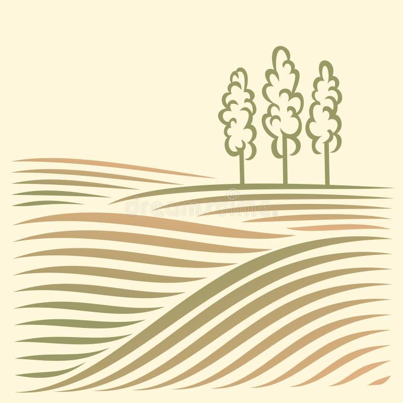 Paesaggio rurale con i campi e l'albero fotografia stock libera da diritti