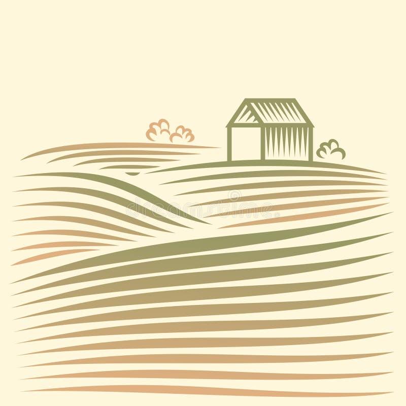 Paesaggio rurale con i campi e la casa illustrazione vettoriale