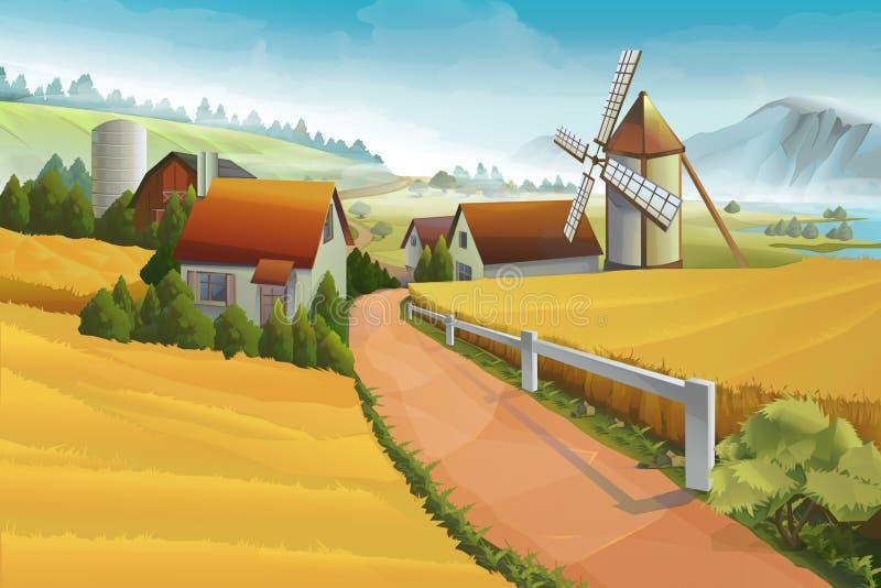 Paesaggio rurale dell'azienda agricola illustrazione di stock