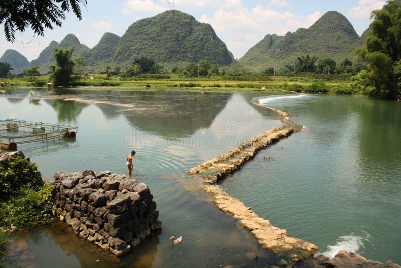 Paesaggio rurale della Cina di Yangshou fotografia stock libera da diritti