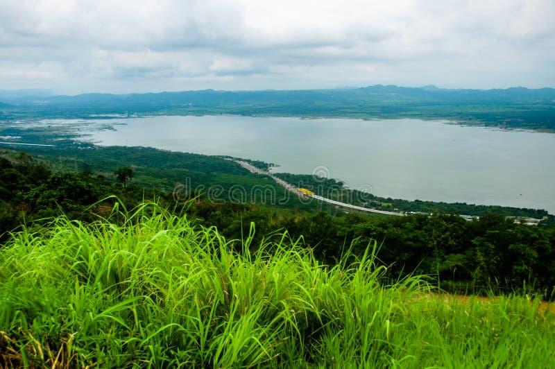 Paesaggio rurale di arte con l'albero, l'erba ed il cielo in Tailandia, paesaggio con il lato del paese immagine stock