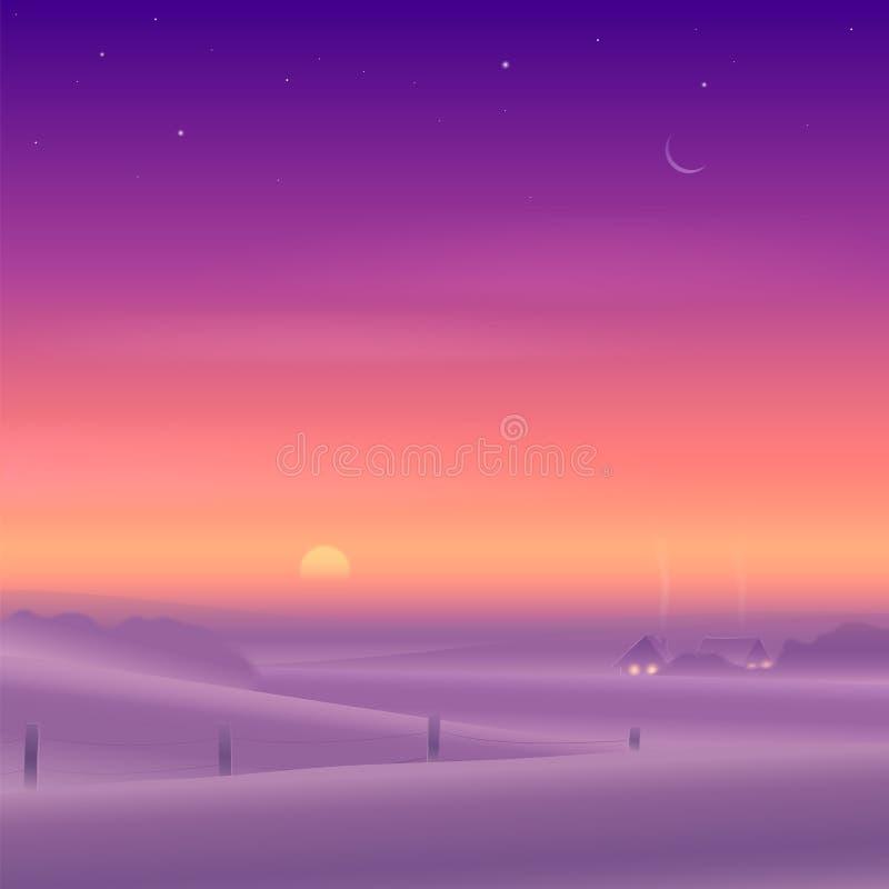 Paesaggio rurale di inverno illustrazione di stock