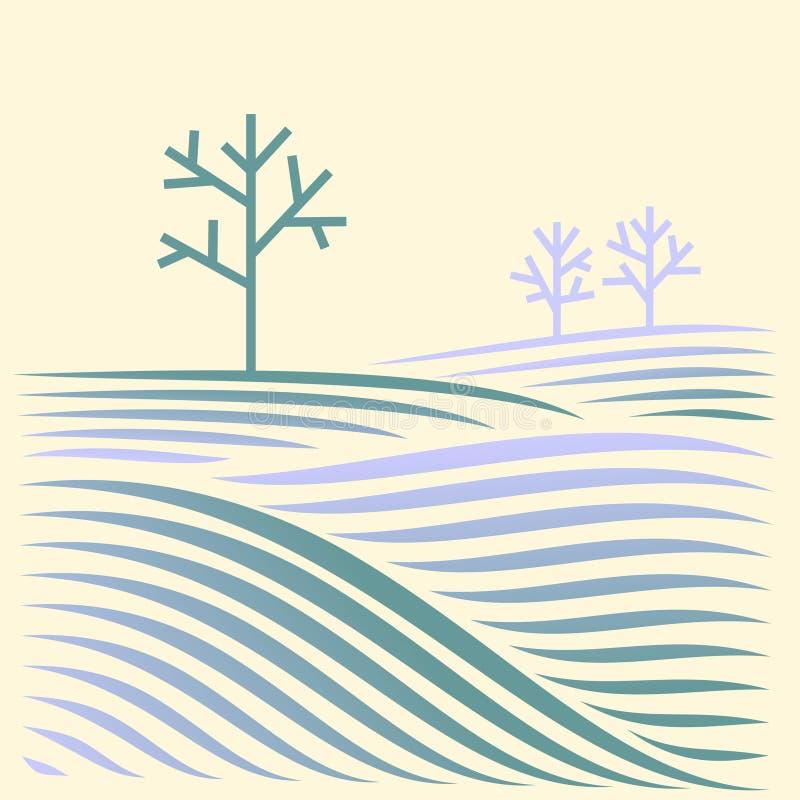 Paesaggio rurale di inverno con i campi e l'albero fotografia stock