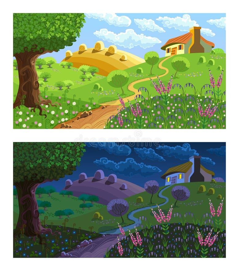 Paesaggio rurale Giorno e notte illustrazione di stock