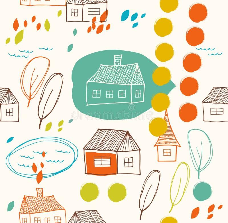 Paesaggio rurale sveglio con le case e gli alberi illustrazione vettoriale