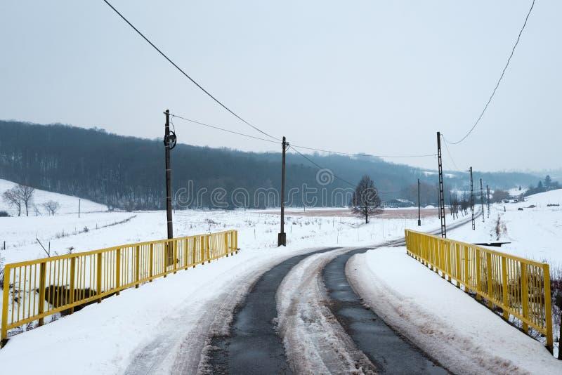 Paesaggio rurale ungherese nell'inverno fotografie stock libere da diritti