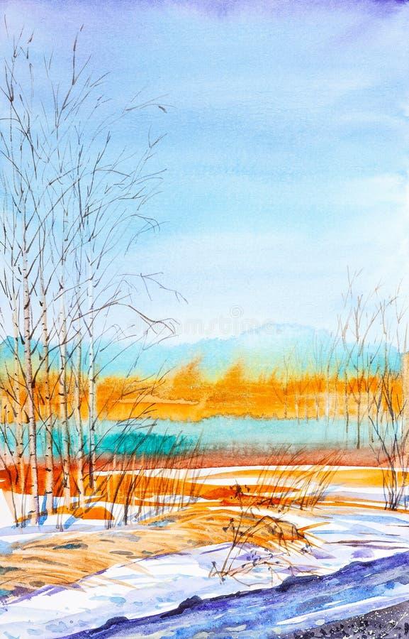 Paesaggio russo della foresta con le belle giovani betulle in uno schiarimento con la neve di fusione illustrazione vettoriale