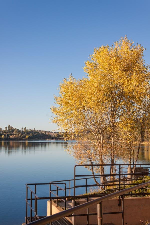 Paesaggio scenico del lago lynx nella caduta fotografia stock libera da diritti