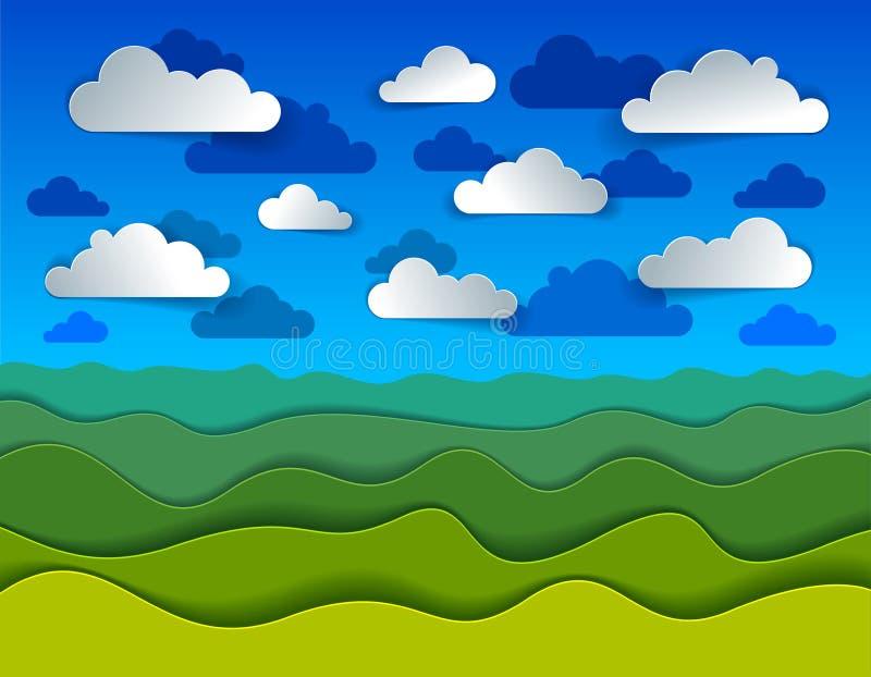 Paesaggio scenico della natura del prato dell'erba verde e nuvole in illustrazione vettoriale