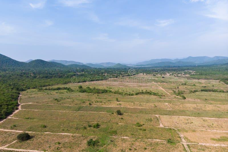 Paesaggio scenico di vista aerea del colpo del fuco dell'azienda agricola di agricoltura contro la foresta della natura e della m immagini stock