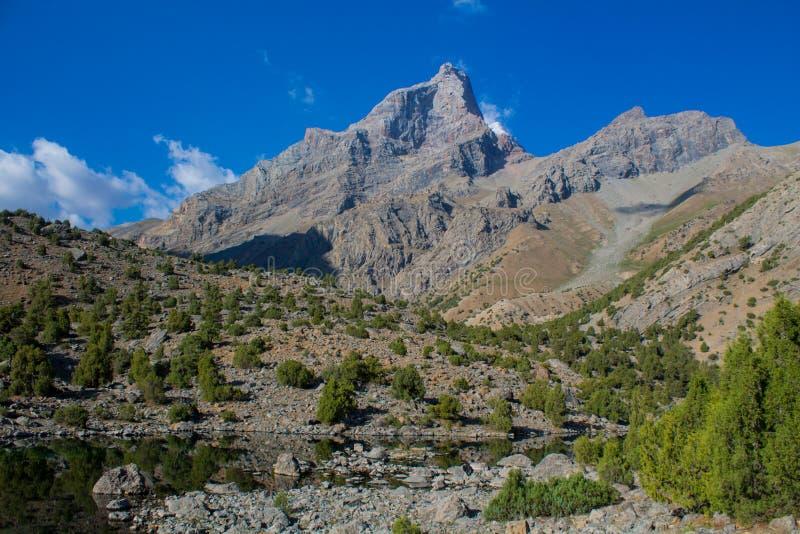 Paesaggio scenico in montagne del fan in Pamir, Tagikistan immagini stock libere da diritti
