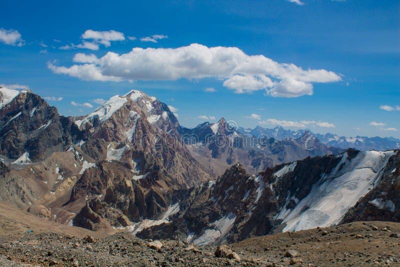 Paesaggio scenico in montagne del fan in Pamir, Tagikistan immagine stock libera da diritti