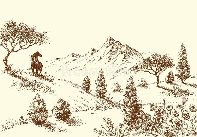 Paesaggio, schizzo della regione selvaggia royalty illustrazione gratis