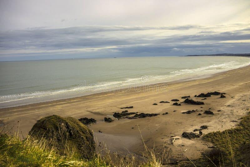 Paesaggio scozzese St Cyrus Beach, Montrose, Aberdeenshire, Scozia, Regno Unito fotografia stock