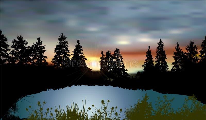 Paesaggio scuro con un lago della montagna, siluette degli alberi, piante e tramonto illustrazione di stock
