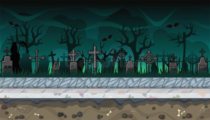Paesaggio senza cuciture del cimitero con gli alberi per progettazione di video gioco royalty illustrazione gratis