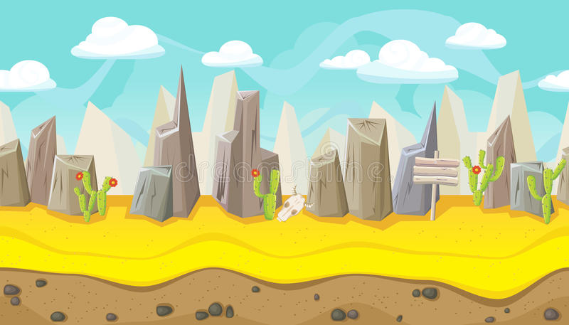 Paesaggio senza cuciture del deserto con le montagne per progettazione del gioco royalty illustrazione gratis
