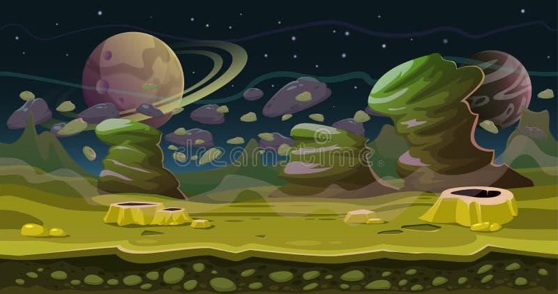 Paesaggio senza cuciture del gioco dello spazio di fantasia Illustrazione di tema della fantascienza Paesaggio verde del pianeta, illustrazione vettoriale