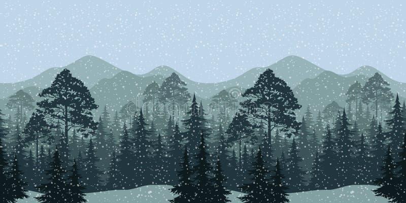 Paesaggio senza cuciture del terreno boscoso di inverno illustrazione vettoriale