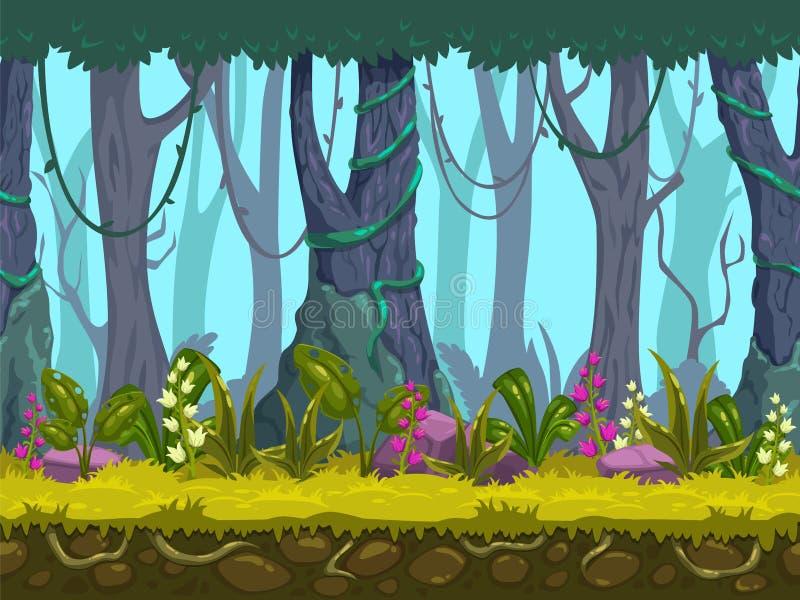 Paesaggio senza cuciture della foresta della molla illustrazione vettoriale