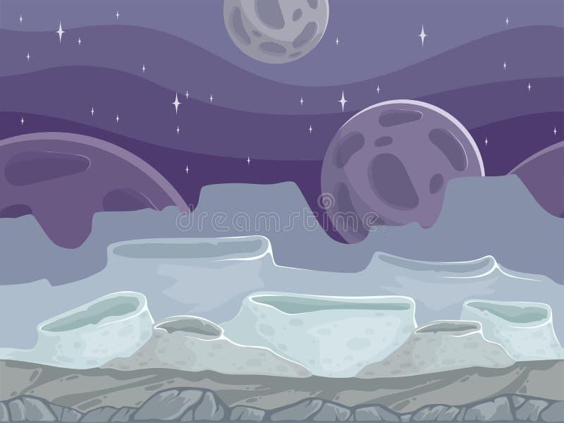 Paesaggio senza cuciture della luna Fondo all'aperto fantastico roccioso del fumetto con la terra differente delle pietre royalty illustrazione gratis