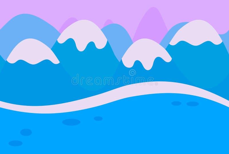 Paesaggio senza cuciture della montagna blu di Snowy royalty illustrazione gratis