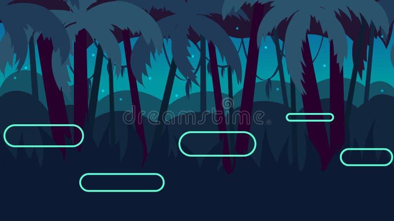 Paesaggio senza cuciture della natura del fumetto con differenti piattaforme e strati separati per i giochi illustrazione di stock